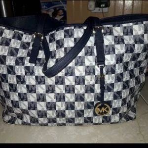 Authentic blueand white Micheal kors tote